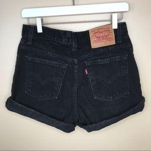 Vintage Levi's Black High Waisted Jean Shorts 7